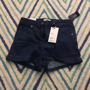 High waisted dark wash denim shorts